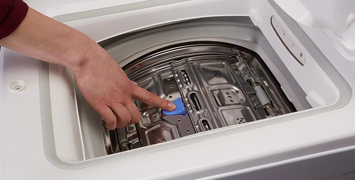 Открывание створок барабана в стиральной машине.